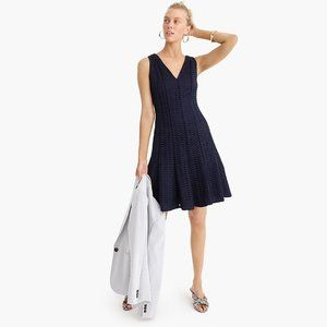 J.CREW Fit-and-flare dress in geometric lace navy